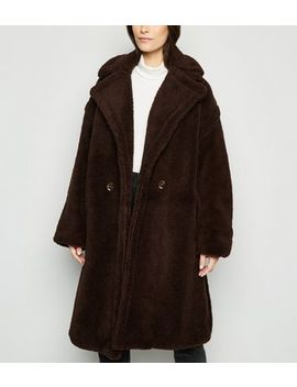 Blue Vanilla Dark Brown Oversized Teddy Coat by New Look