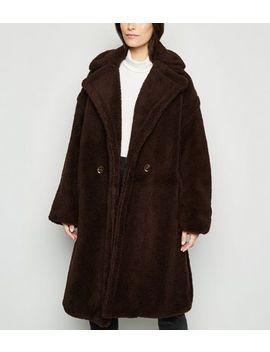 Blue Vanilla Dark Brown Oversized Teddy Coat by New Look