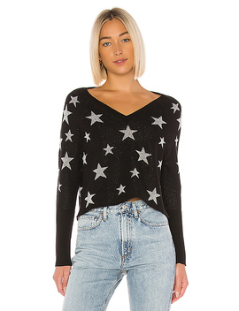 Star Intarsia V Neck Pullover In Black & Silver Stars by Chaser