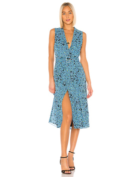 The Cleo Midi Dress In Blue Floral by L'academie