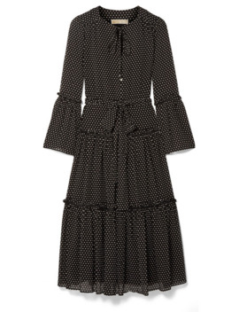 Tiered Polka Dot Chiffon Midi Dress by Michael Michael Kors