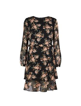 Black Floral Print Ruffle Fit And Flare Dress by Dorothy Perkins