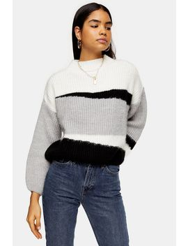 Knitted Colour Block Cropped Jumper by Topshop