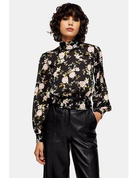 Floral Split Tie Back Blouse by Topshop