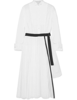 Belted Pleated Poplin And Piqué Midi Dress by Sacai