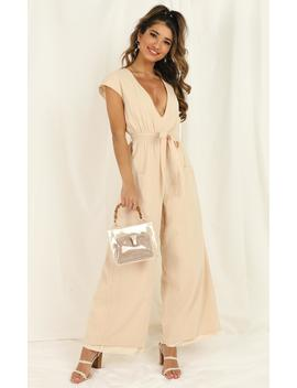 Like A Super Power Jumpsuit In Cream by Showpo Fashion
