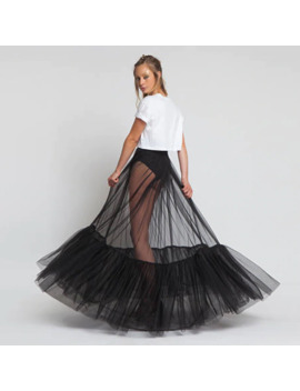 Sheer One Layer Black Maxi Skirt See Through Women Black Long Tulle Skirt With Unique Ruched Edge 2018 New Design No Lining by Ali Express.Com