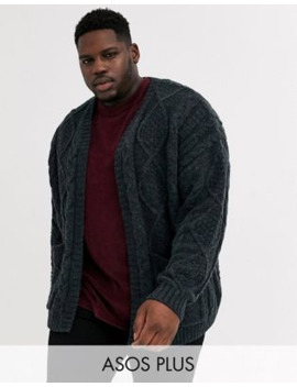 Asos Design Plus Heavyweight Cable Knit Cardigan In Dark Grey by Asos Design