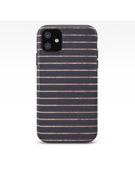 Elegant Chic Rose Gold Stripes And Navy Blue I Phone Case by Society6