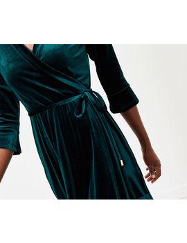 Velvet Wrap Tea Dress by Oasis