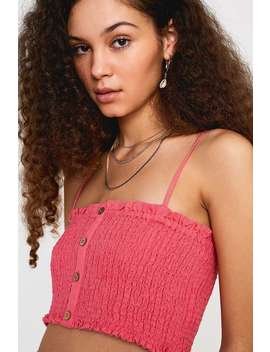Uo Bebby Pink Button Through Crop Cami by Urban Outfitters