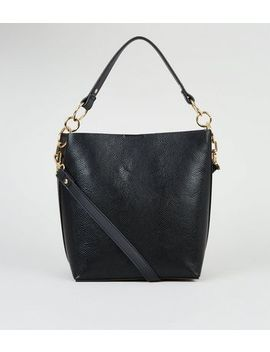 Black Faux Snake Bucket Bag by New Look