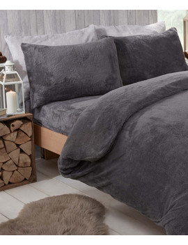 Charcoal Teddy Fleece Single Duvet Set by Brentfords