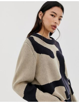 weekday---mae---jacquard-sweater-in-zwart-en-bruin by weekday