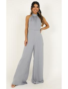 Leaves Falling Jumpsuit In Dove Blue Satin by Showpo Fashion