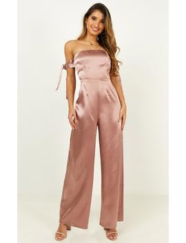 Long Pause Jumpsuit In Blush Satin by Showpo Fashion