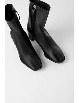 Soft Leather High Heel Ankle Boots by Zara