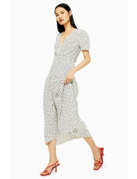Tall Black And White Starlight Spot Smock Dress by Topshop