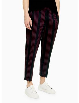 Burgundy Stripe Slim Trousers by Topman