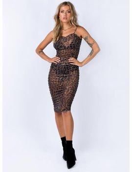 Motel Manuna Dress Leopard Printed Net Mesh by Motel