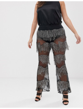 Asos Design Curve Embellished Flare Trouser With Sequins And Beads by Asos Design