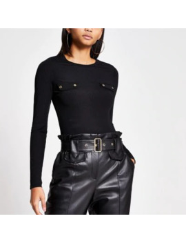 Black Long Sleeve Chest Pocket Ribbed Top by River Island