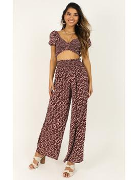 Moonlight Confessions Two Piece Set In Wine Floral by Showpo Fashion
