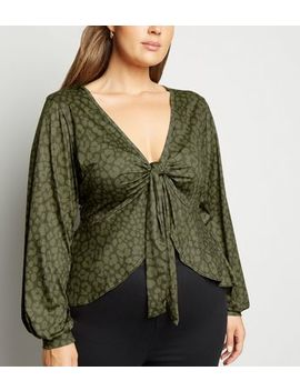 Just Curvy Khaki Leopard Print Tie Top by New Look