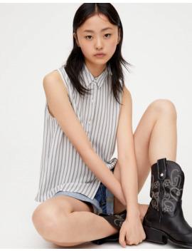 Printed Sleeveless Basic Shirt by Pull & Bear