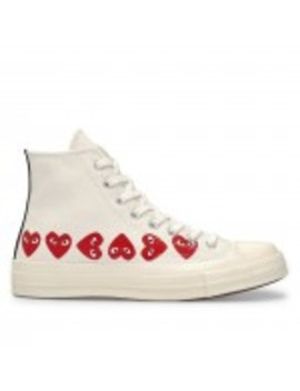 Play Comme Des Garçons Converse Multi Red Heart Chuck Taylor All Star '70 High (White) by Dover Street Market