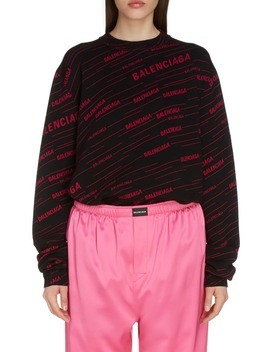 Logo Jacquard Wool Blend Sweater by Balenciaga