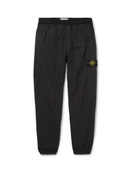 Charcoal Tapered Garment Dyed Shell Trousers by Stone Island