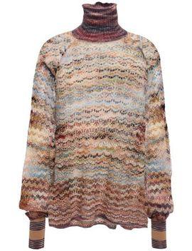 Ruffle Trimmed Marled Crochet Knit Turtleneck Sweater by Missoni