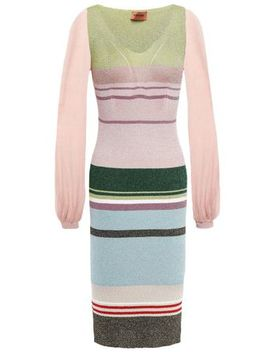 Gathered Paneled Striped Knitted Dress by Missoni