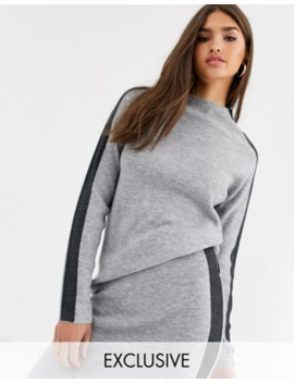Micha Lounge High Neck Structured Jumper Coord With Side Stripe by Micha Lounge
