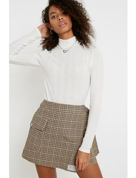 Uo Ribbed Mesh Funnel Neck Top by Urban Outfitters