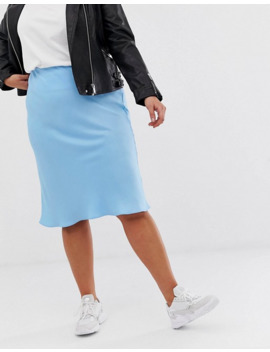 River Island Plus   Gonna Blu Pallido Con Taglio In Sbieco by Asos
