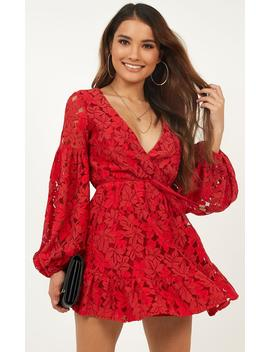 Autumn Leaves Dress In Red Lace by Showpo Fashion