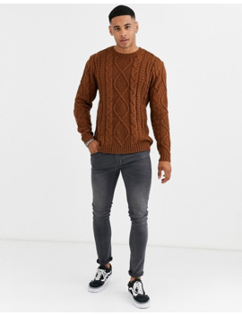 Asos Design Heavyweight Cable Knit Sweater In Tan by Asos Design