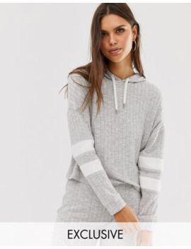 Micha Lounge Cropped Hoodie In Rib Co Ord by Micha Lounge
