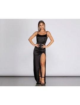 Dena High Slit Satin Formal Dress by Windsor