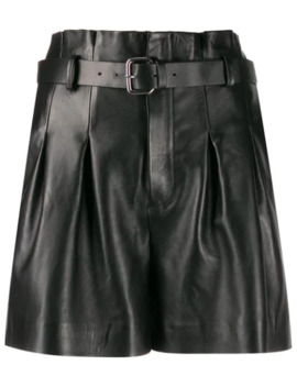 Belted Leather Shorts by Red Valentino