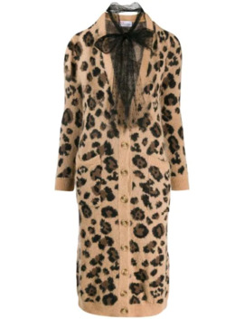 Leopard Print Long Cardigan by Red Valentino