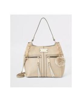 River Island Zip Front Slouch Bag   Beige by River Island