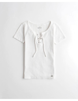 Lace Up Slim T Shirt by Hollister