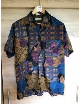 🔥 Christian Dior Silk Shirt Camo Art Floral Pattern Vintage by Dior  ×  Vintage  ×  Christian Dior Monsieur  ×