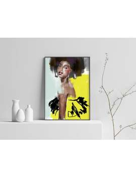 Decoration For Living Room Or Bedroom, Beautiful Colorful Painting, Female Motifs In Yellow, Afro, by Etsy