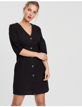 Puff Sleeve Button Up Dress by Na Kd