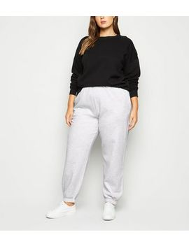 Curves Grey Cuffed Joggers by New Look