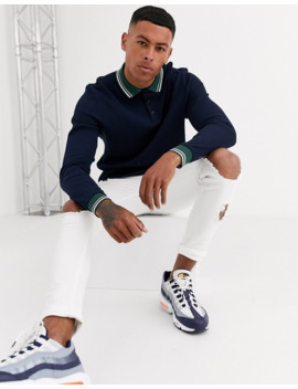 Asos Design Long Sleeve Polo Shirt In Waffle With Contrast Tipping In Navy by Asos Design
